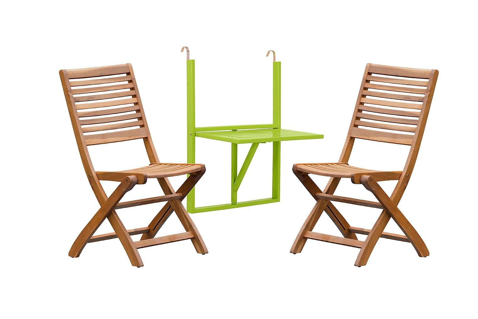 LAMBERT Balkongbord Vihreä+2 CARRICK Taittotuolia Luonnonvär