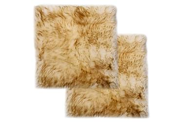 Sittdynor 2 st brun melange 40x40 cm äkta fårskinn