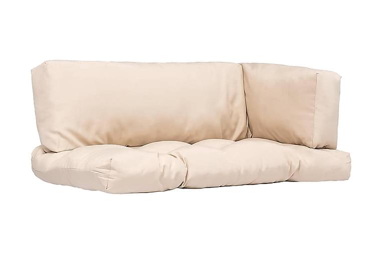 Dynor till pallsoffa 3 st beige polyester - Beige - Utemöbler - Dynor - Soffdynor & bänkdynor