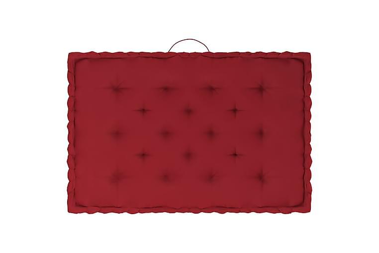 Dynor till pallsoffa 3 st vinröd bomull - Röd - Utemöbler - Dynor - Soffdynor & bänkdynor