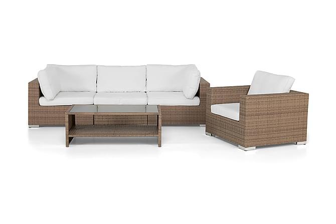 Bahamas Loungegrupp 4-sits Bord m Hylla - Fåtölj Sand - Utemöbler - Loungemöbler - Loungegrupper