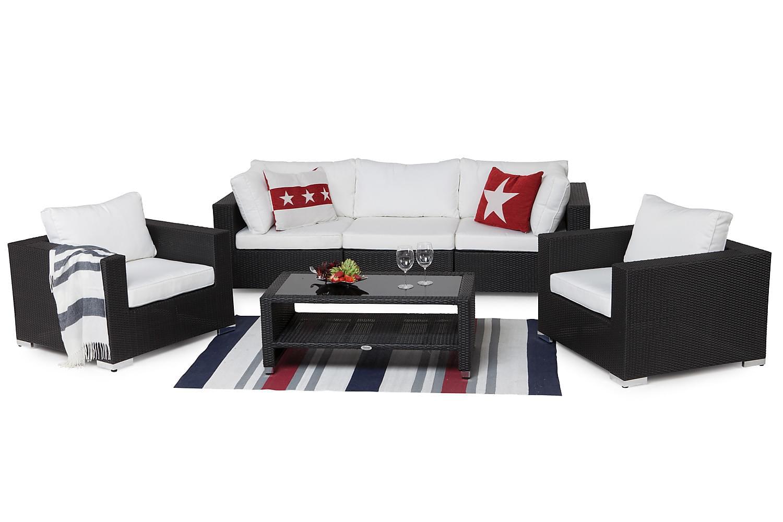 DOMINICA Sohva 3:n ist+Pöytä hyllyllä+2 tuolia Musta