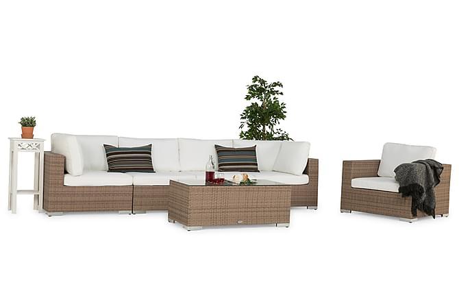 Bahamas Loungegrupp 5-sits Bord - Fåtölj Sand - Utemöbler - Loungemöbler - Loungegrupper