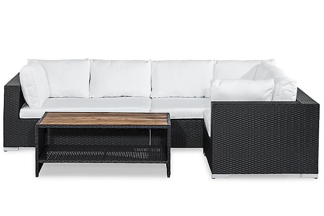 Bahamas Loungegrupp 5-sits - Svart/Akacia Bord - Utemöbler - Loungemöbler - Loungegrupper