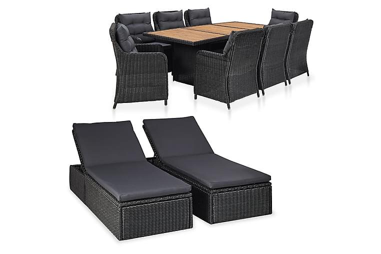 Loungegrupp för trädgården 11 delar konstrotting svart - Svart - Utemöbler - Loungemöbler - Loungegrupper