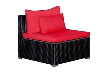 Loungegrupp för trädgården 9 delar m. dynor konstrotting röd