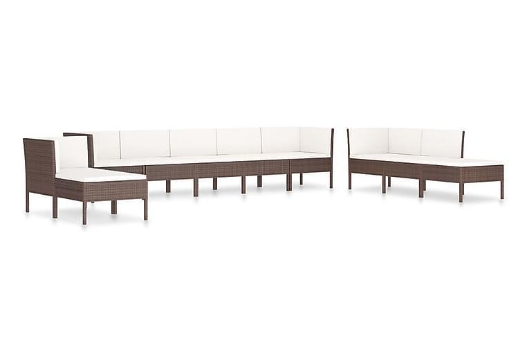 Loungegrupp för trädgården med dynor 10 delar konstrotting - Brun - Utemöbler - Loungemöbler - Loungegrupper