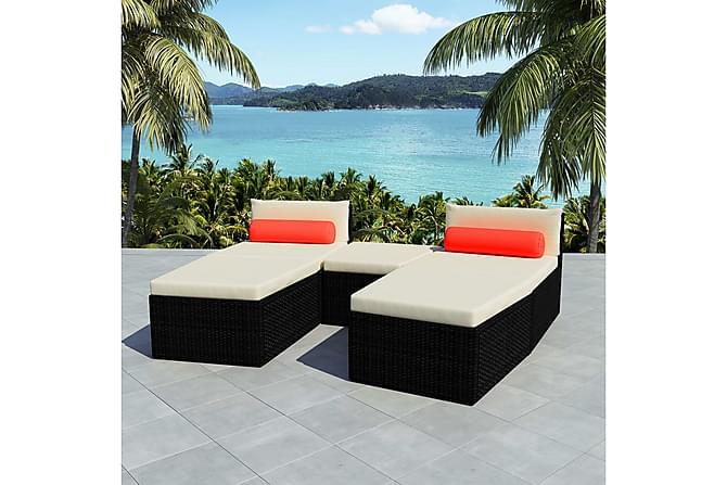 Loungegrupp för trädgården med dynor 5 delar konstrotting - Svart Vit - Utemöbler - Loungemöbler - Loungegrupper