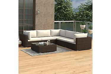 Loungegrupp för trädgården med dynor 6 delar konstrotting