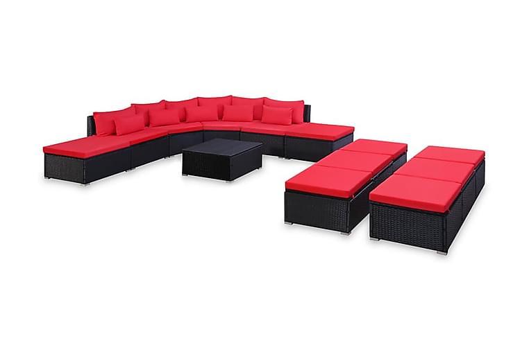 Loungegrupp för trädgården med dynor 9 delar konstrotting - Röd - Utemöbler - Loungemöbler - Loungegrupper