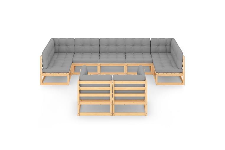 Loungegrupp med dynor 9 delar massiv furu - Brun - Utemöbler - Loungemöbler - Loungegrupper