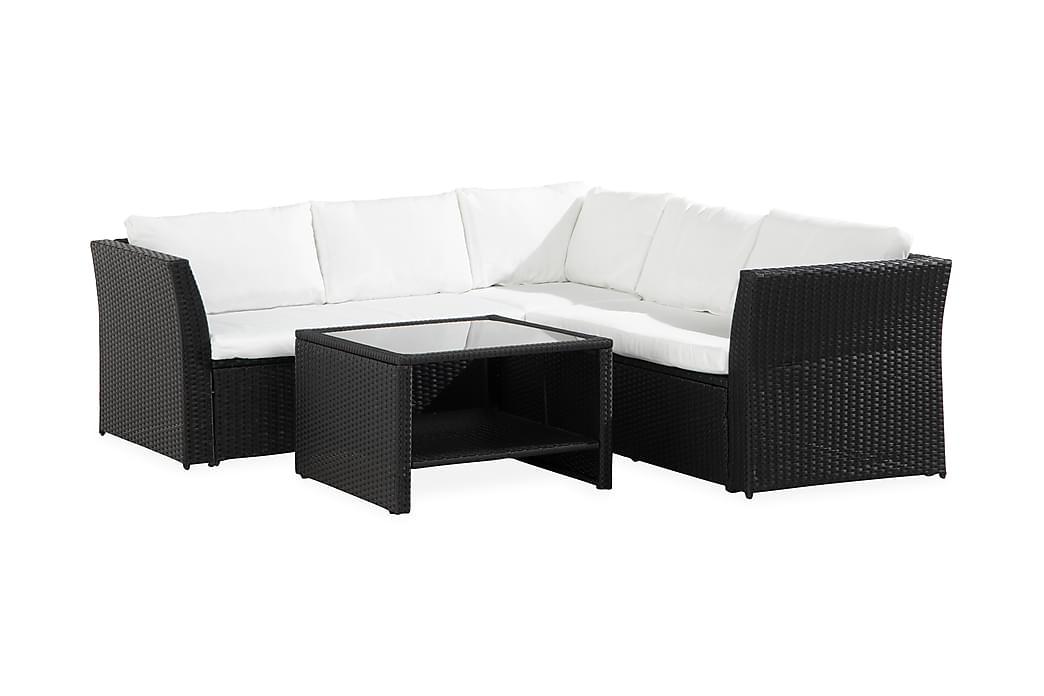 Wisconsin Light 5-sits Loungegrupp - Svart/Vit - Utemöbler - Loungemöbler - Loungesoffor