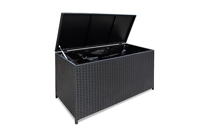 Trädgårdslåda 120x50x60 cm konstrotting svart - Svart - Utemöbler - Dynboxar & möbelskydd