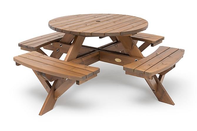 Hillerstorp Picnic Rund 110 cm - Brun - Utemöbler - Matgrupper utomhus - Cafégrupper