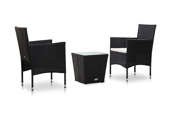 Caféset 3 delar konstrotting och härdat glas svart - Svart - Utemöbler - Matgrupper utomhus - Cafégrupper