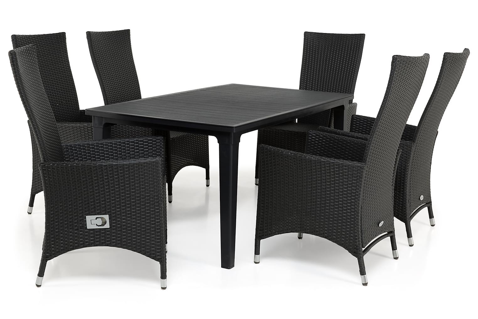 ALAMOSA Pöytä 165 + 6 JENNIE Säädettävää nojatuolia Musta