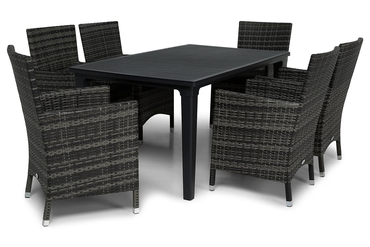 ALAMOSA Pöytä 165 Grafiitti + 6 TUR Lyx Nojatuolia Harmaa