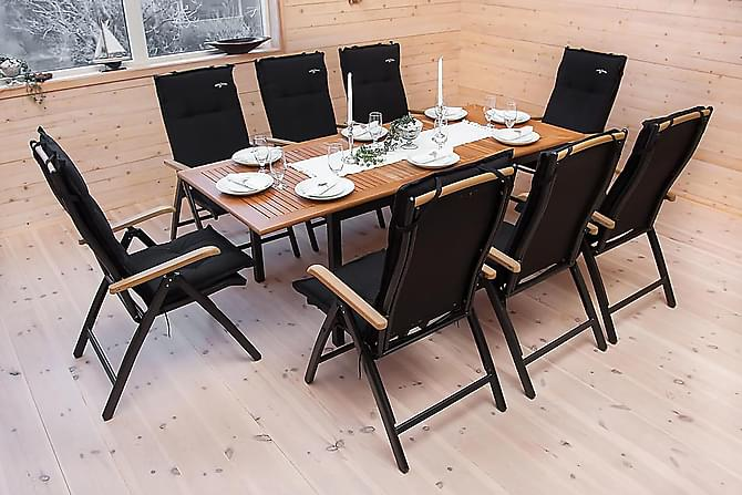 Las Vegas Matgrupp 152-210 + 6 Positionsstol Lyx - Svart Teak - Utemöbler - Matgrupper utomhus - Kompletta matgrupper
