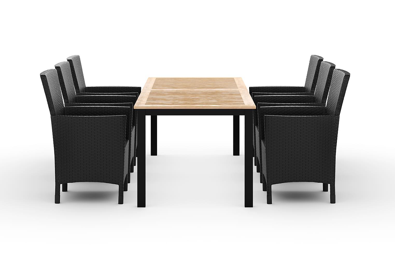LORETO Pöytä 152-210 + 6 Nojatuolia Musta