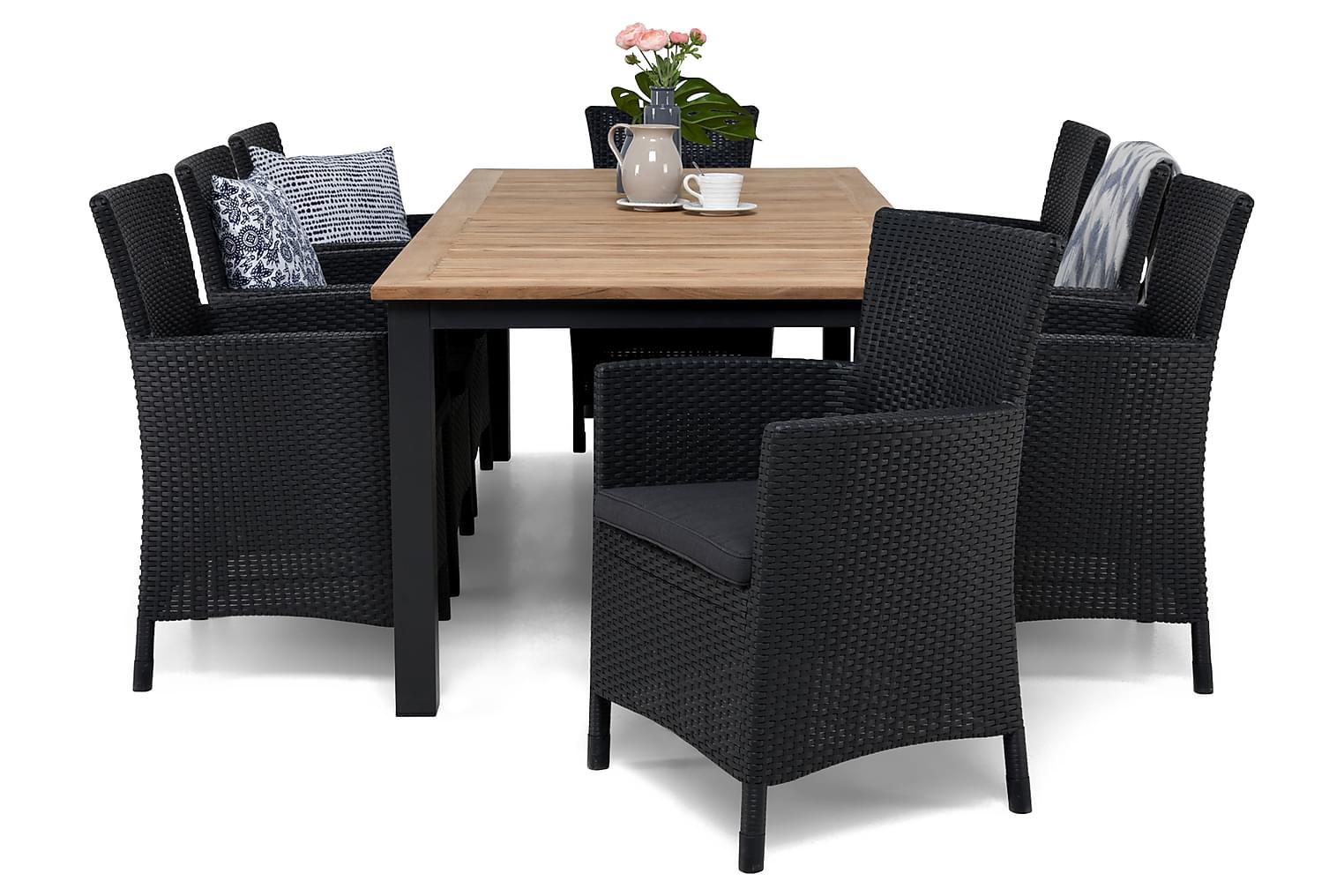 LORETO Pöytä 220-280 + 8 Nojatuolia harmailla tyynyillä