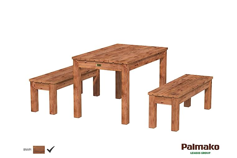 Sanne 12 Matgrupp 120 cm + 2 Bänkar Trä/Brun - Palmako - Utemöbler - Matgrupper utomhus - Kompletta matgrupper