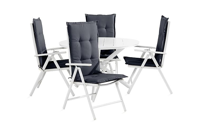 Space Matgrupp 120 Rund + 4 Maggie Positionstol - Vit/Grå - Utemöbler - Matgrupper utomhus - Kompletta matgrupper