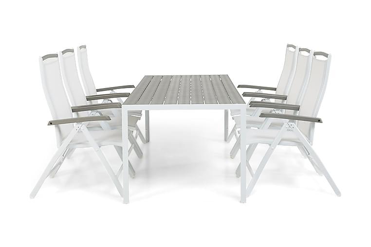 Tunis Matgrupp 205 + 6 Monaco Positionsstol - Vit - Utemöbler - Matgrupper utomhus - Kompletta matgrupper