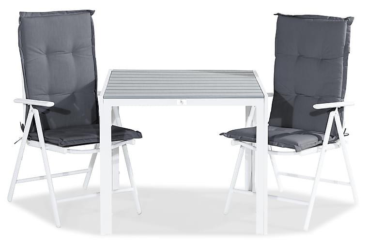 Tunis Matgrupp 90x90 + 2 Maggie Positionsstol m Dyna - Vit/Grå - Utemöbler - Matgrupper utomhus - Kompletta matgrupper