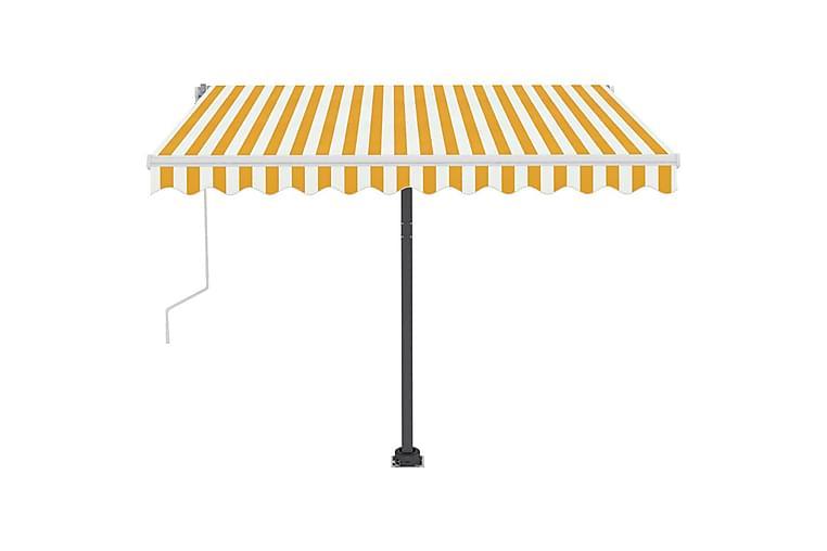 Markis manuellt infällbar med LED 300x250 cm gul och vit - Gul - Utemöbler - Solskydd - Markiser