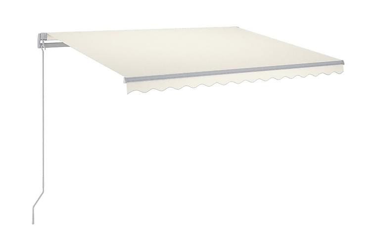 Markis manuellt infällbar med LED 350x250 cm gräddvit - Kräm - Utemöbler - Solskydd - Markiser
