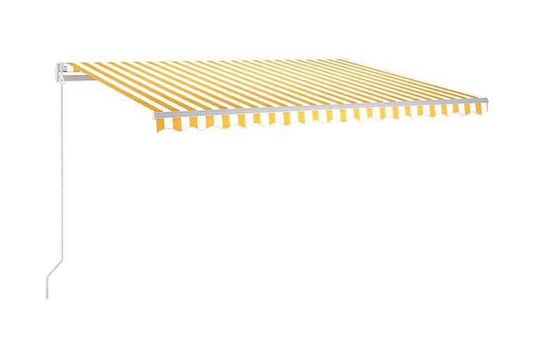 Markis manuellt infällbar med LED 400x300 cm gul och vit - Gul - Utemöbler - Solskydd - Markiser