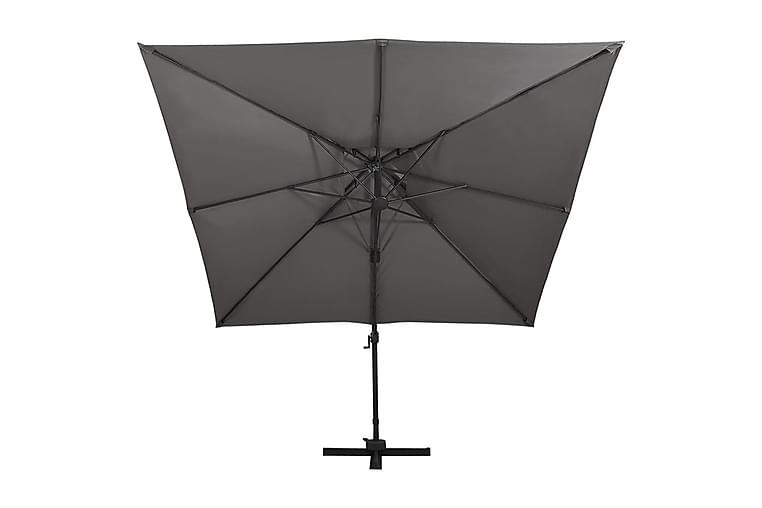 Frihängande parasoll med ventilation 300x300 cm antracit - Antracit - Utemöbler - Solskydd - Parasoller