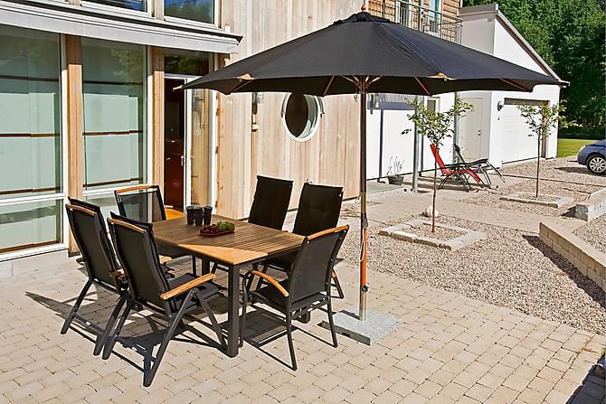 Hillerstorp Lyxparasoll trä - svart - Utemöbler - Solskydd - Parasoller