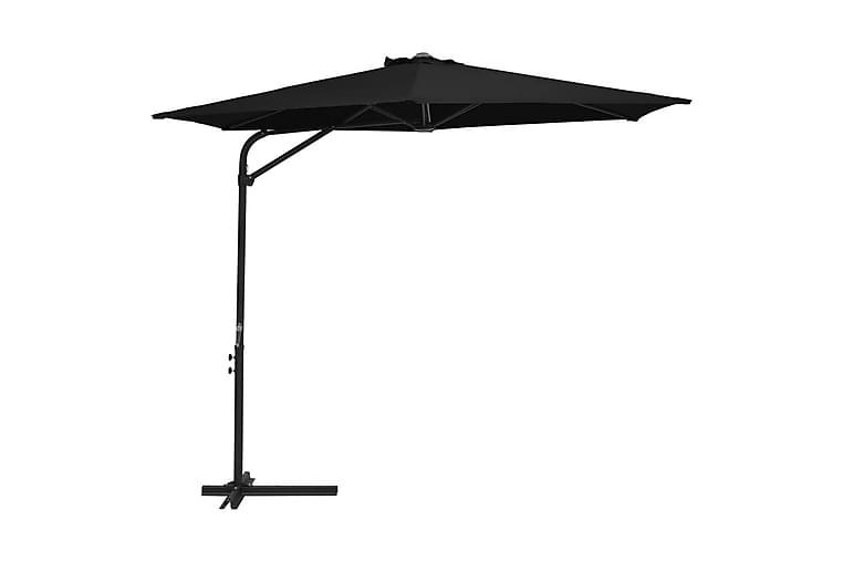 Trädgårdsparasoll med stålstång 300 cm svart - Svart - Utemöbler - Solskydd - Parasoller