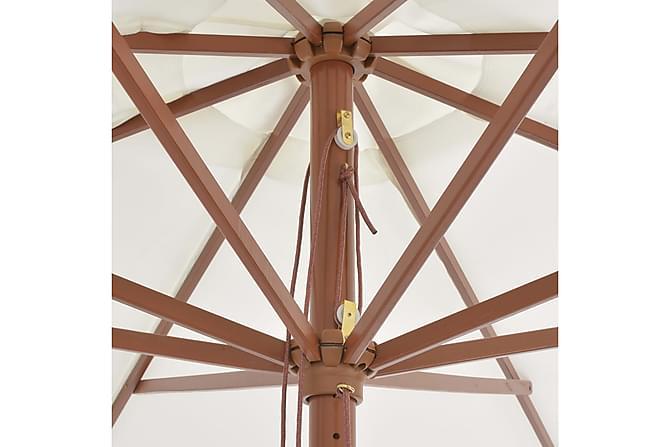 Trädgårdsparasoll med trästång sandvit 350 cm - Vit - Utemöbler - Solskydd - Parasoller