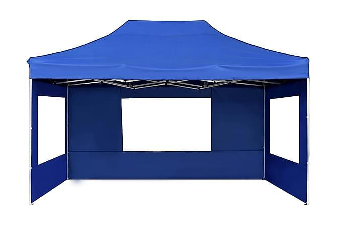 Hopfällbart partytält med väggar aluminium 4,5x3 m blå - Blå - Utemöbler - Solskydd - Paviljonger