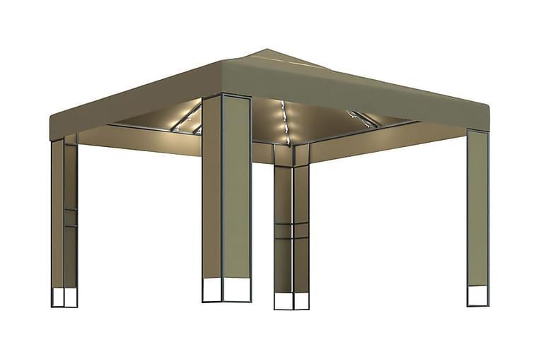 Paviljong dubbla tak och ljusslinga 3x3x2,7 m taupe 180 g/m² - Taupe - Utemöbler - Solskydd - Paviljonger