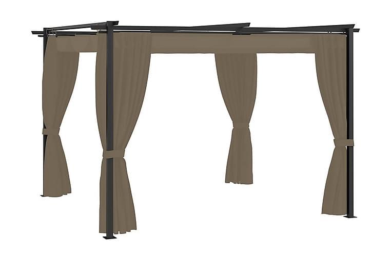 Paviljong med draperier 3x3 m taupe stål - Taupe - Utemöbler - Solskydd - Paviljonger