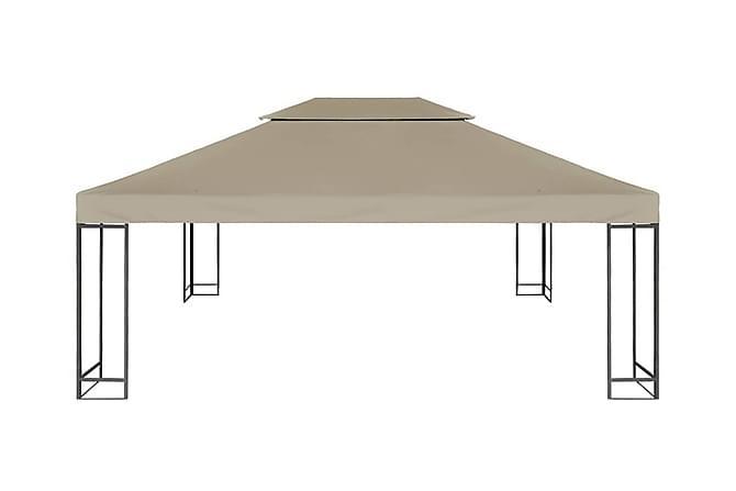 Paviljongtak med ventilering 310 g/m² 4x3 m taupe - Beige - Utemöbler - Solskydd - Paviljonger