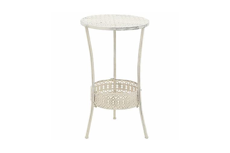 Bistrobord vintage stil rund metall 40x70 cm vit - Vit - Utemöbler - Utebord - Cafebord
