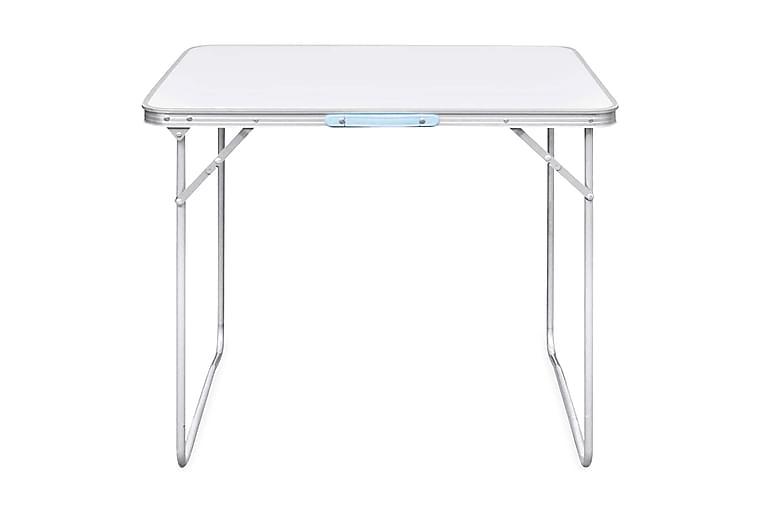 Campingbord med metallram, hopfällbar 80x60 cm - Vit - Utemöbler - Utebord - Campingbord