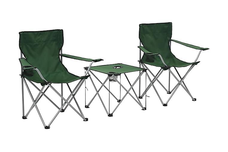 Campingbord och stolar 3 delar grön - Grön - Utemöbler - Utebord - Campingbord