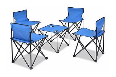 Hopfällbara campingmöbler 5 delar stål 45x45x70 cm blå