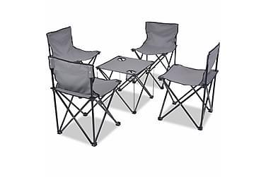 Hopfällbara campingmöbler 5 delar stål 45x45x70 cm grå