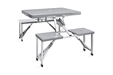 Hopfällbart campingbord m. 4 stolar i aluminium ljusgrått