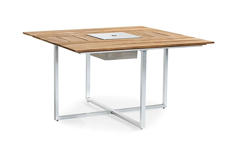 Båstad Matbord 140x140 cm - Teak/Borstad Aluminium - Utemöbler - Utebord - Matbord