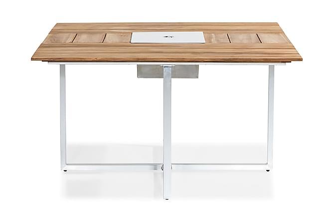 Båstad Matbord 140x140 cm - Teak/Borstad Aluminium - Utemöbler - Välj efter material - Trä & teak
