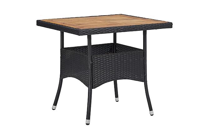 Matbord för trädgård svart konstrotting och massiv akacia - Svart - Utemöbler - Utebord - Matbord