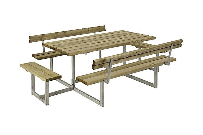 Basic bord- och bänkset med 2 ryggstöd + 2 påbyggnader - Utemöbler - Utebord - Picknickbord