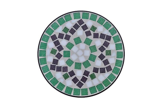 Sidobord med mosaik grön/vit - Svart|Grön|Vit - Utemöbler - Utebord - Sidobord